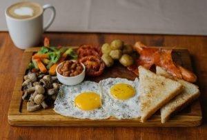 Full English breakfast in a café
