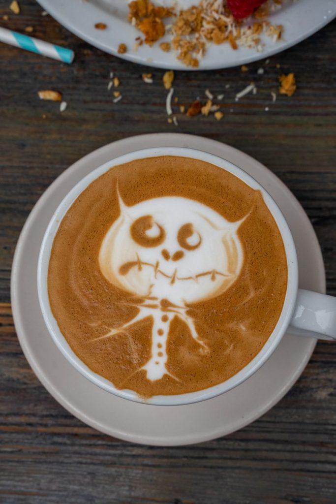 Monster latte art in coffee