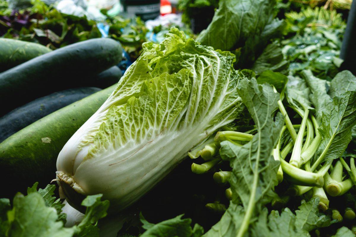 Napa cabbage at a market