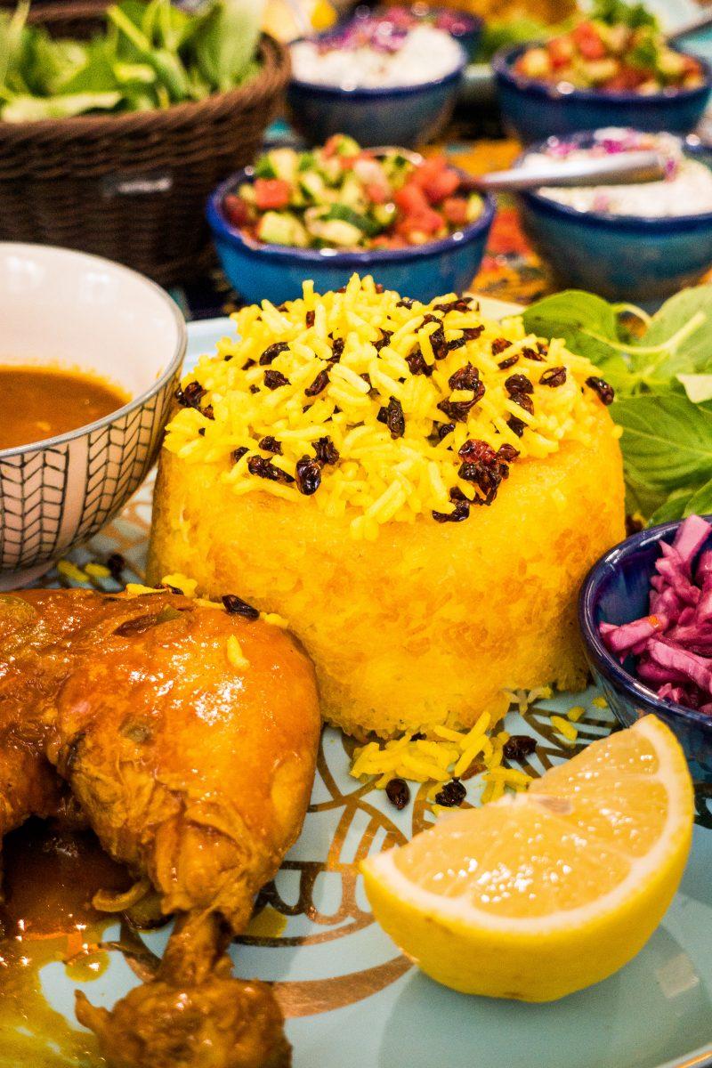 Traditional Iranian saffron rice with raisins