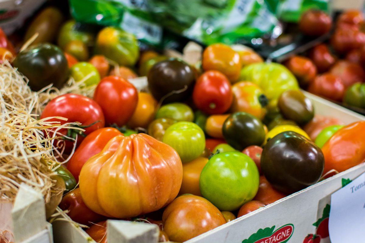 Colorful tomatoes on a market