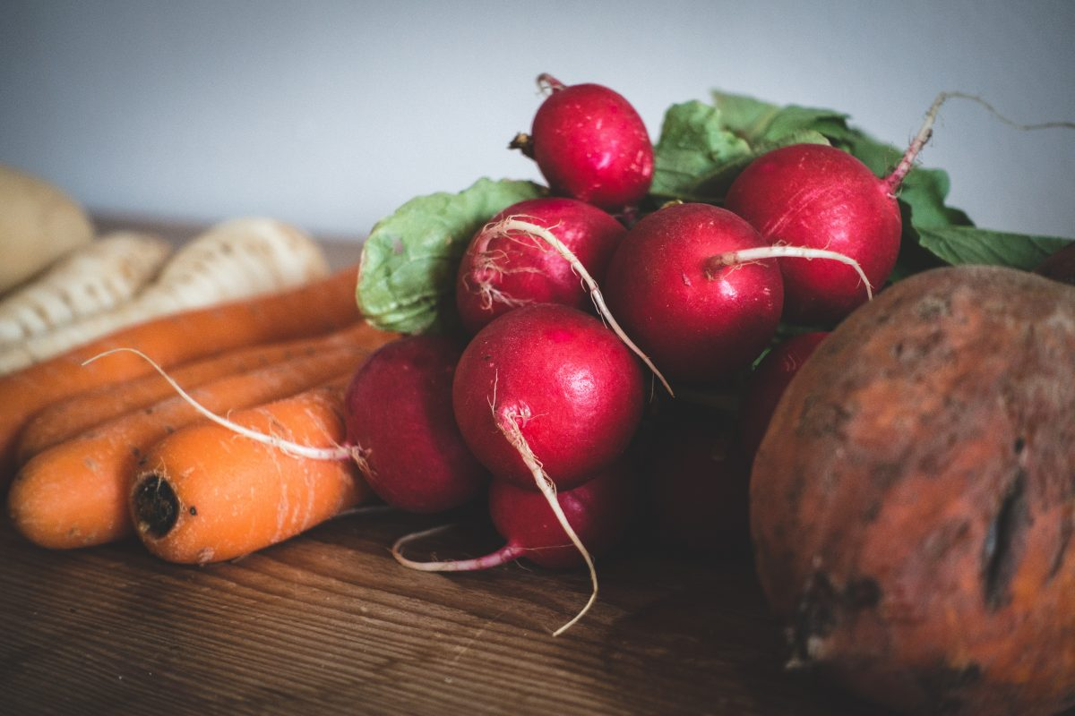 Fresh organic radishes close up