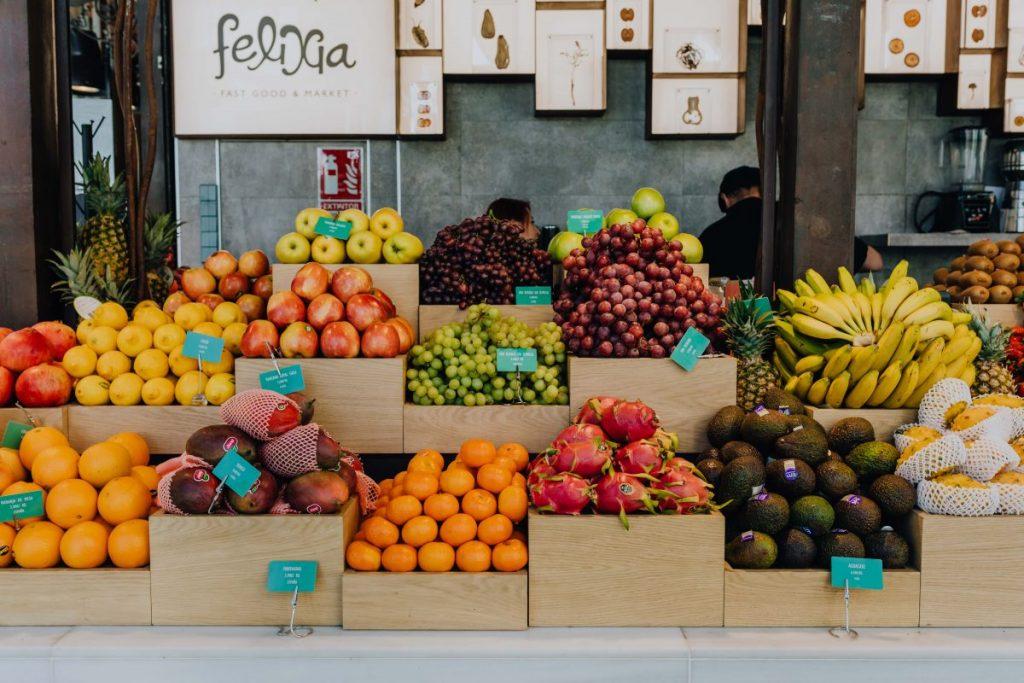 Fresh tropical fruits at a market