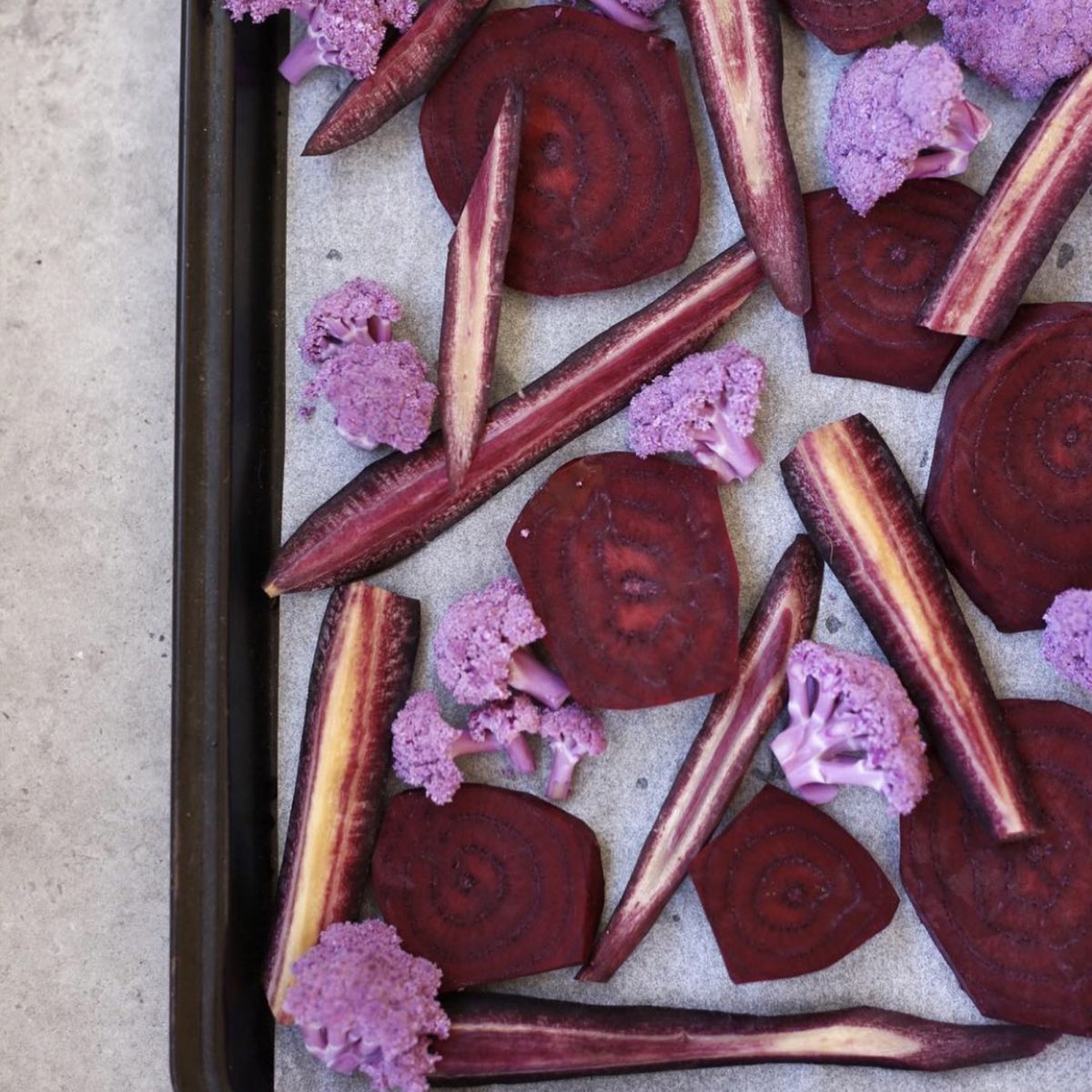 Purple veggies for baking