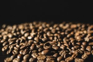 Lightly roasted coffee beans close up