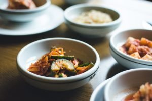 Bowl with fermented vegetables in a Korean restaurant