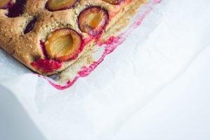 Close up of a traditional Czech plum pie