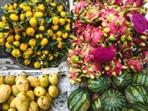 Mango, watermelon, tangerines and dragon fruit aerial
