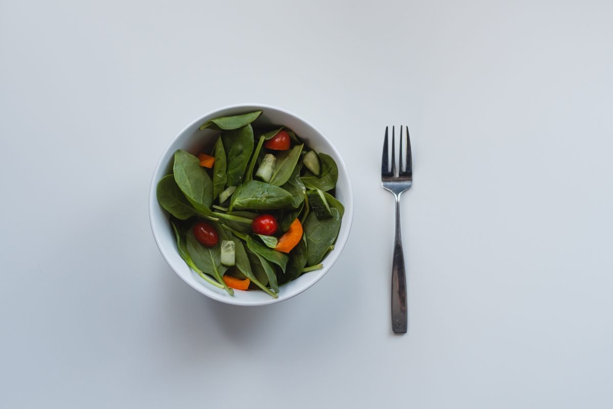 Simple green salad in a bowl