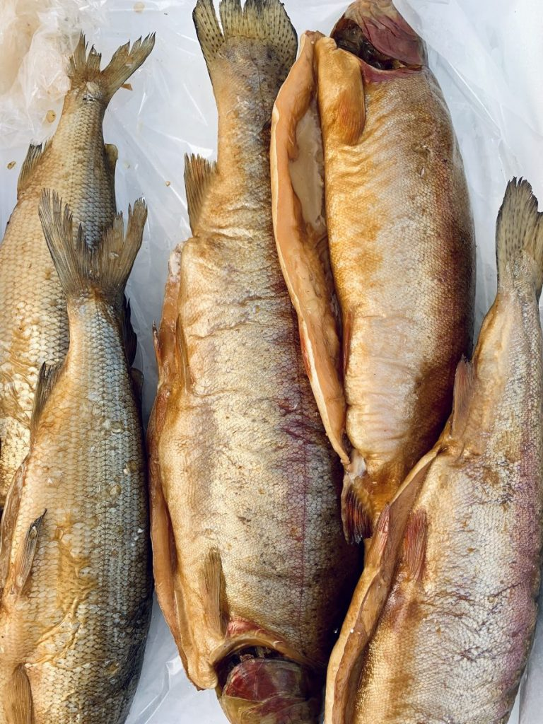 Smoked fish in the fish market
