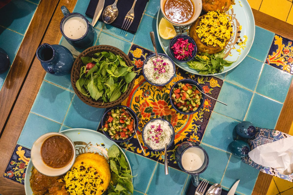 Dining in an Iranian restaurant