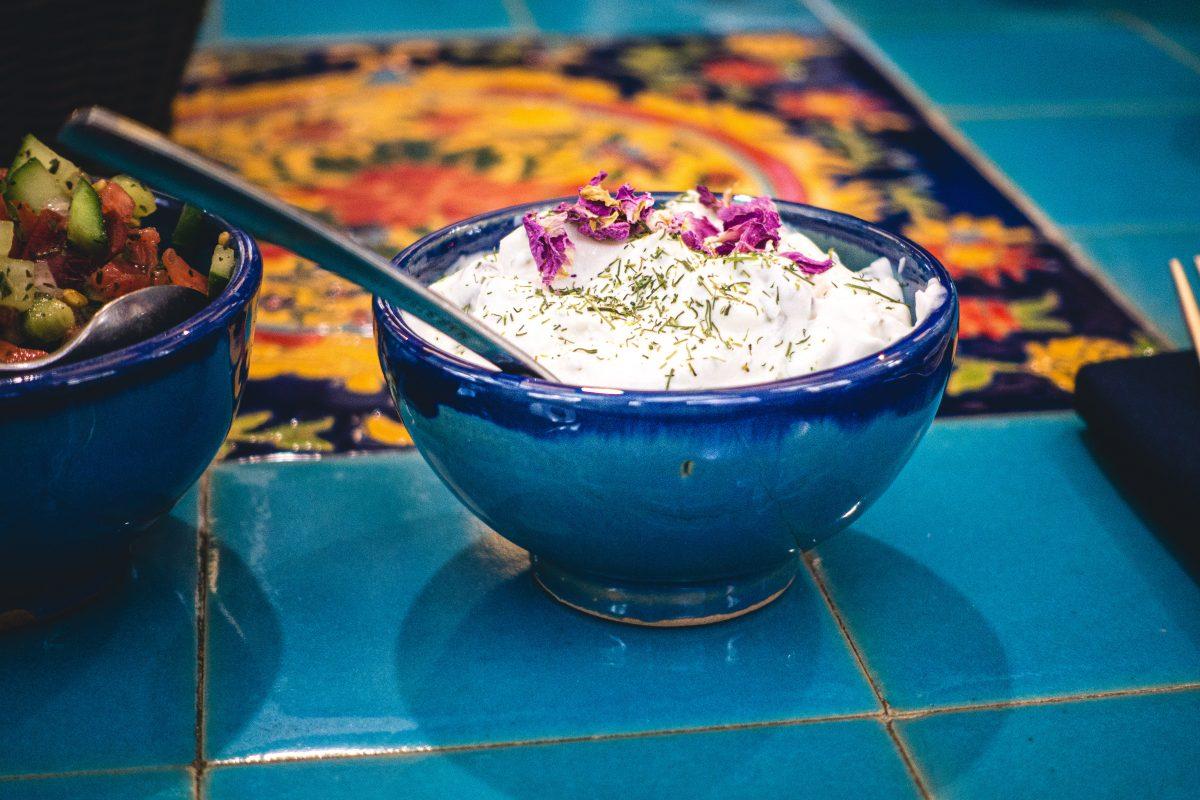 Yogurt with fresh mint in an Iranian restaurant