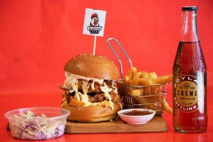 Korean style fried chicken burger with french fries