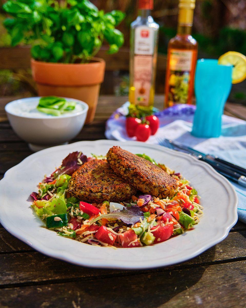 Potato quinoa patties with fresh salad