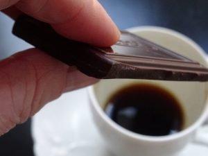 Piece of chocolate with espresso