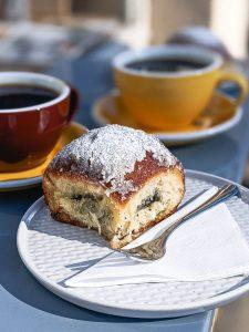 Sourdough cake bun with poppy seed inside