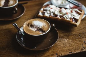 Cappuccino with sweet waffle