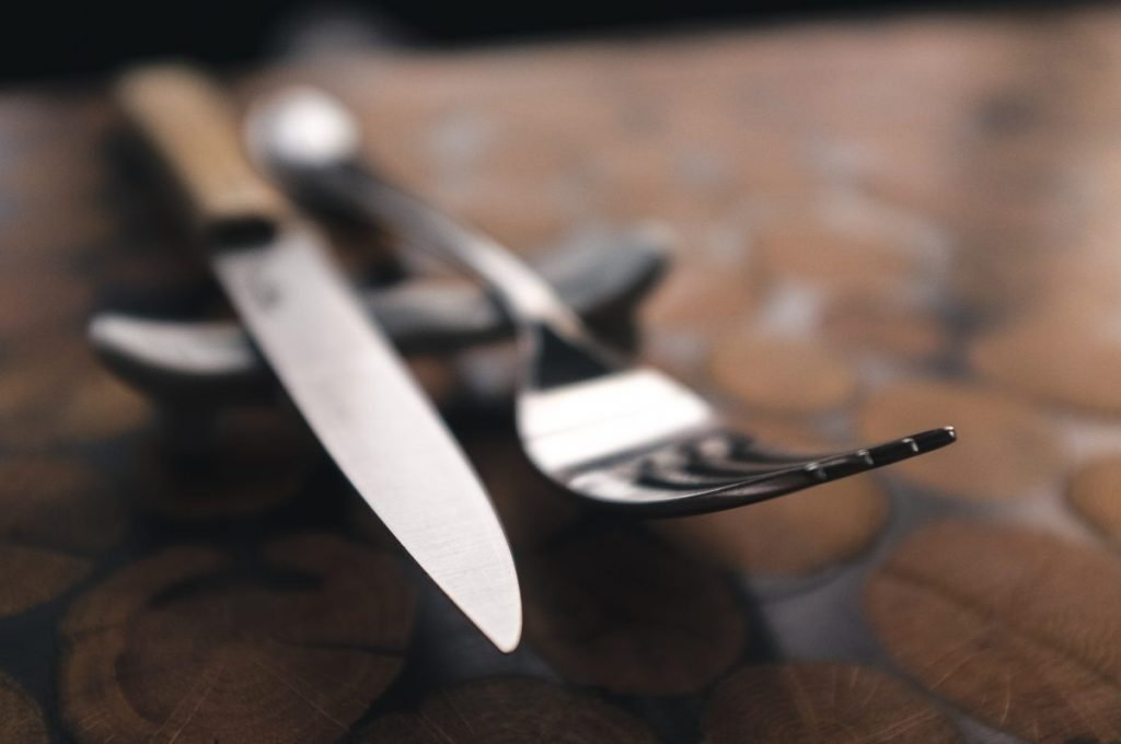 Fork and steak knife in a restaurant